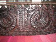 Traditional Indian hand carved 3 seater bench in wood