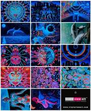 14 UV Blacklight Fluorescent & Glow In The Dark Art Postcards Pack